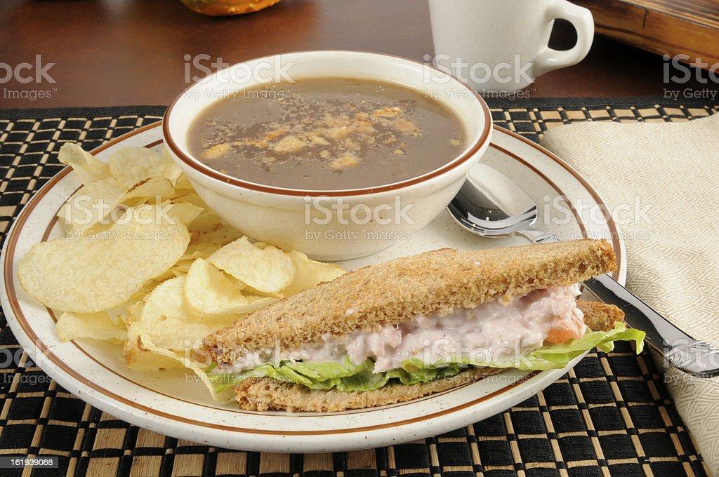 Ham salad sandwich with onion soup stock photo