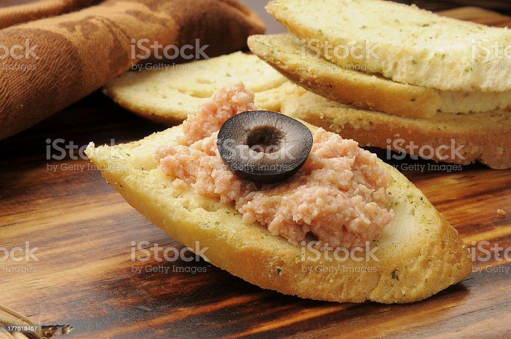 Ham salad snack stock photo