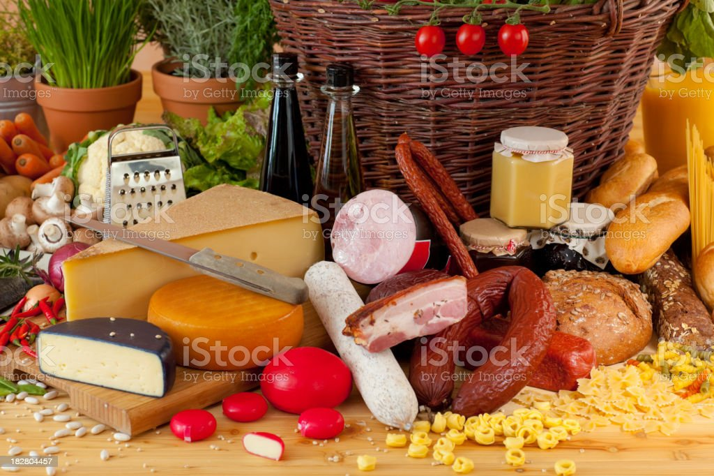 ham, salami, cheese, bread and other foods royalty-free stock photo