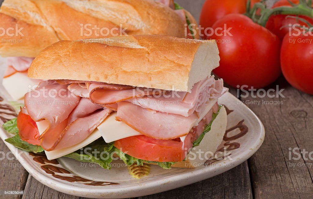 Ham Sandwich Closeup stock photo