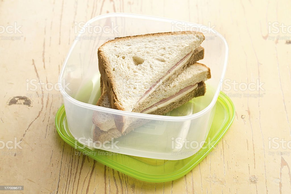 ham sandwich in plastic box royalty-free stock photo