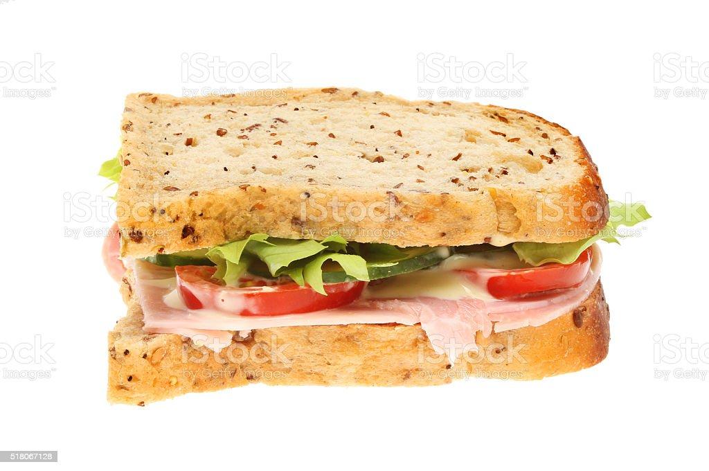 Ham sandwich isolated stock photo