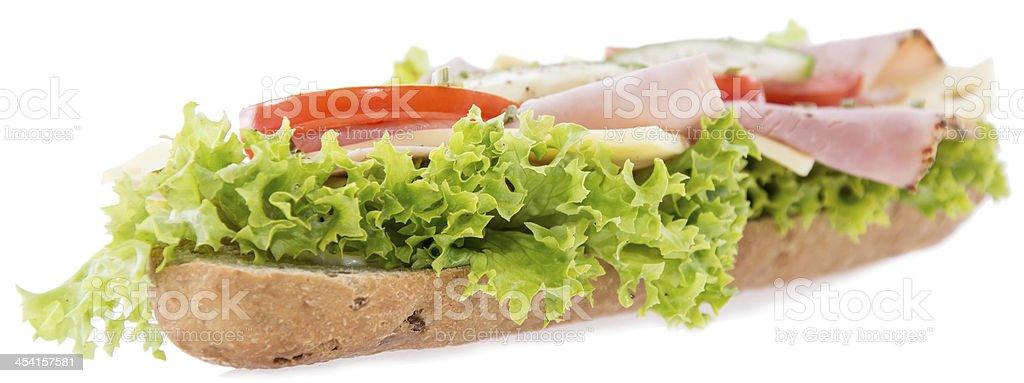 Ham Sandwich on white royalty-free stock photo