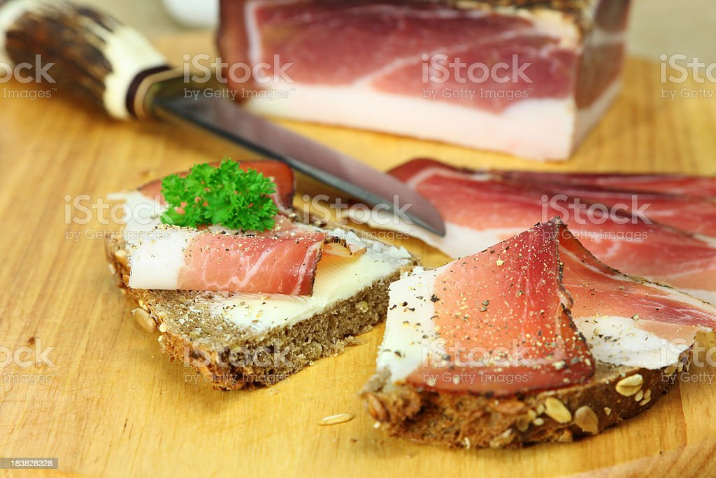 Ham Sandwich or Schinkenbrot royalty-free stock photo