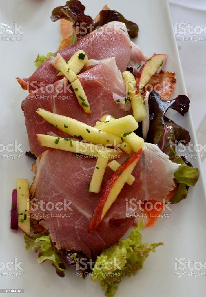 Ham sandwich with salad stock photo