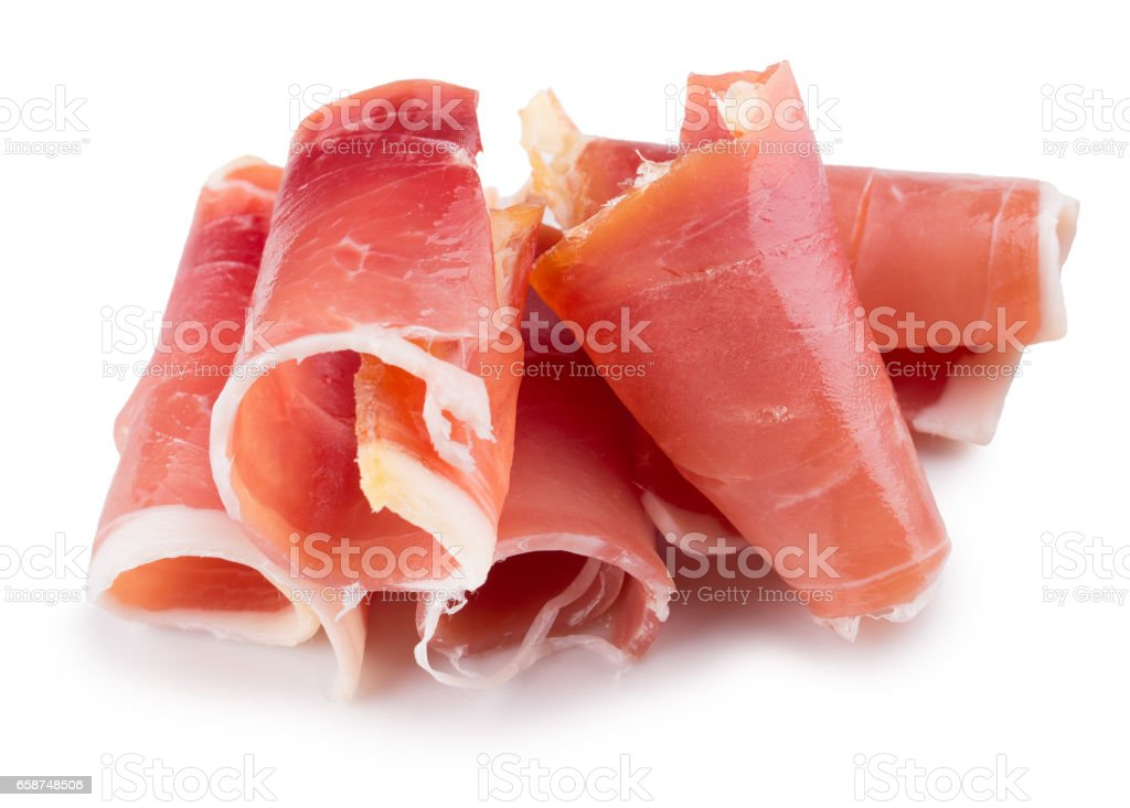 ham slices isolated on a white background stock photo