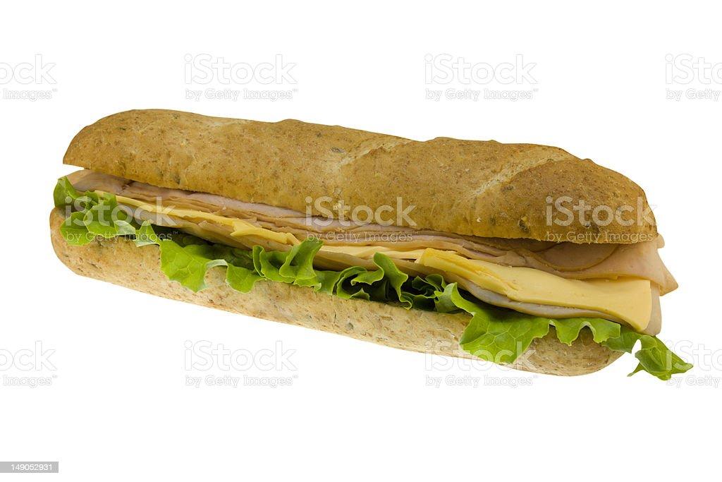 ham sub on white royalty-free stock photo