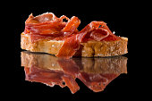 Ham toast. Spanish tapas