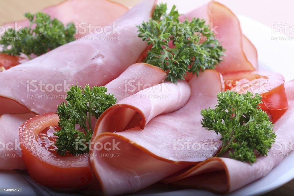 Ham Tomato Parsley Set Macro stock photo