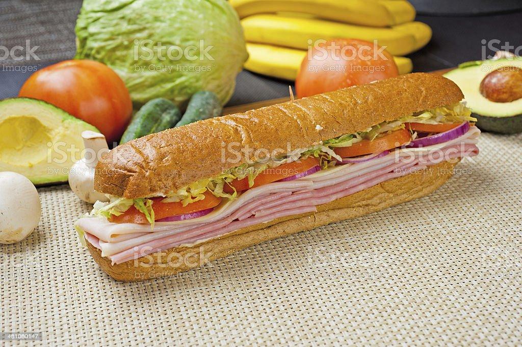 Ham & Turkey Sandwich royalty-free stock photo