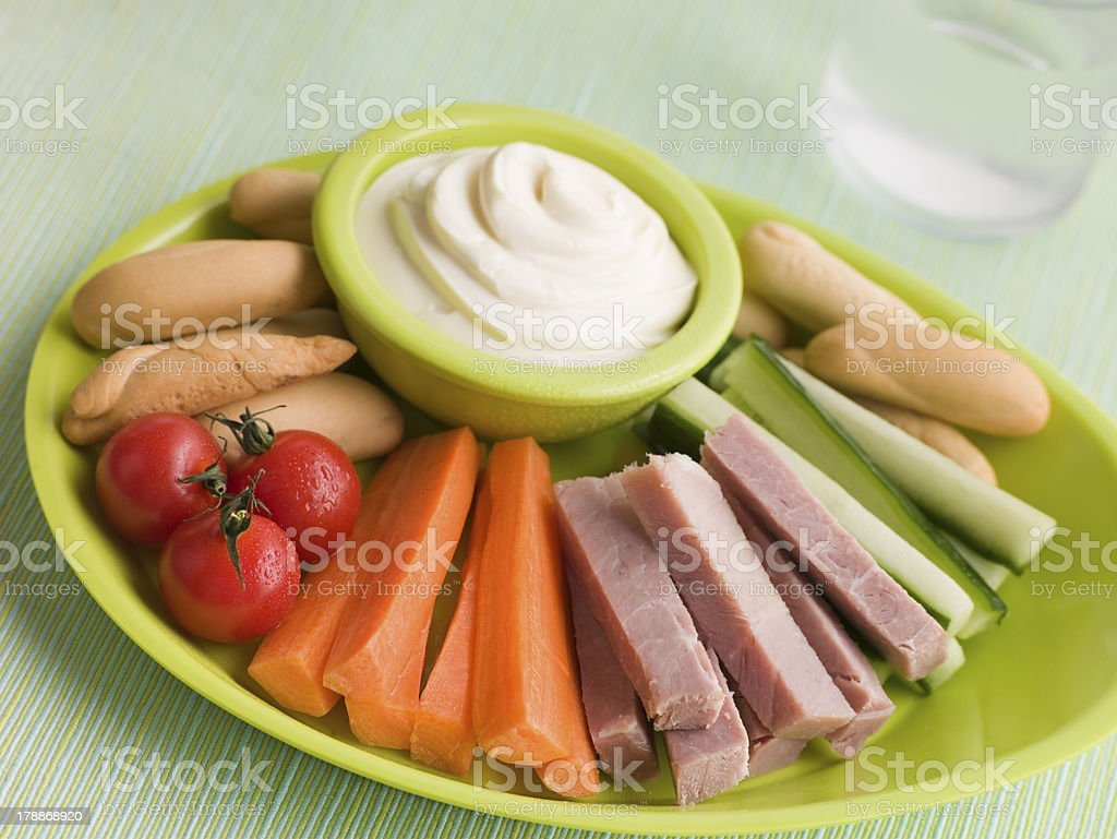 Ham Vegetable and Bread Sticks with Cheese Spread stock photo