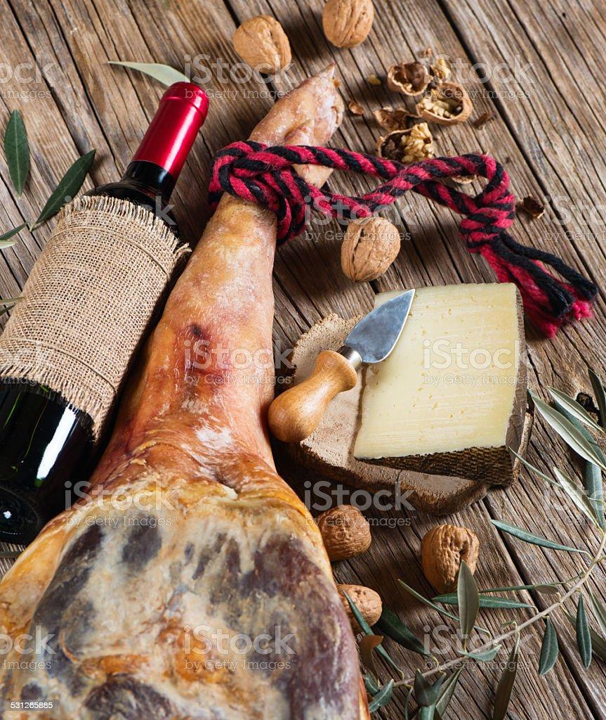 Ham, wine, walnuts and cheese, top view stock photo