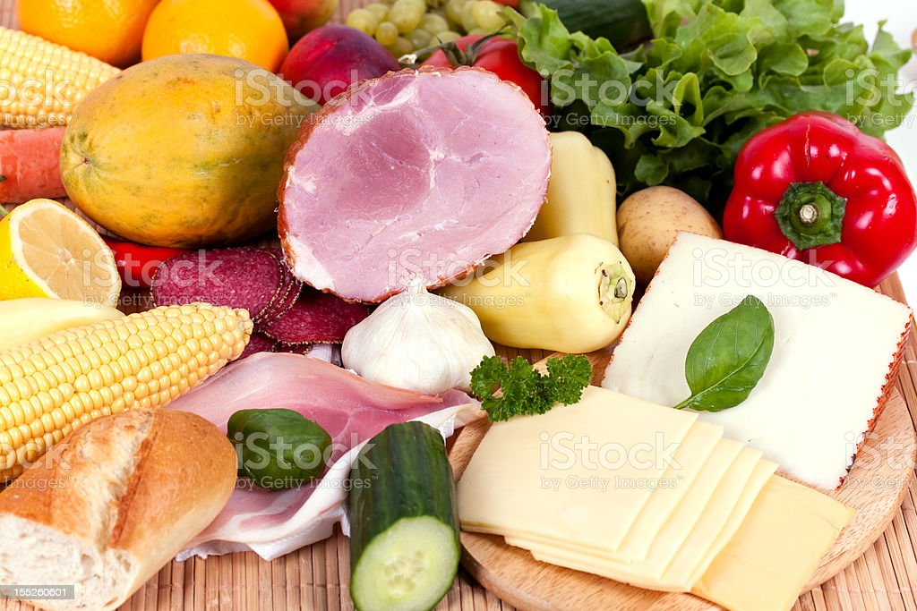 Ham with sausage and mixed fruits , vegetables royalty-free stock photo