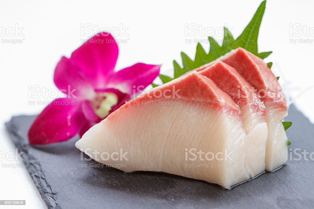 Hamachi Sashimi : Sliced Raw Hamachi (Yellowtail Fish). stock photo