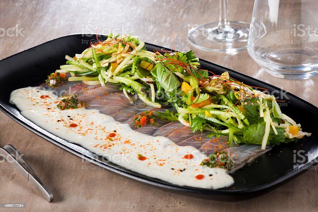 Hamachi Thai Sashimi stock photo