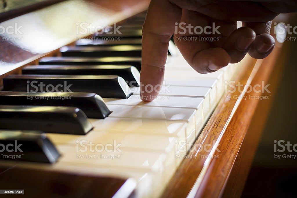 Haman hand playing piano. stock photo