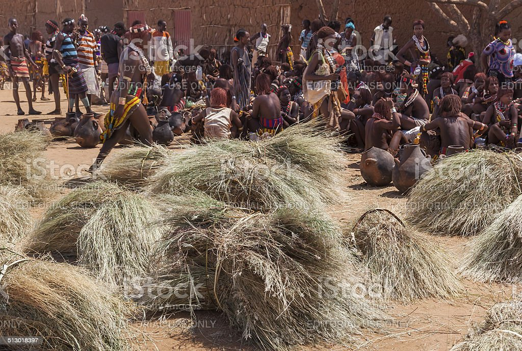Hamar people at village market. stock photo