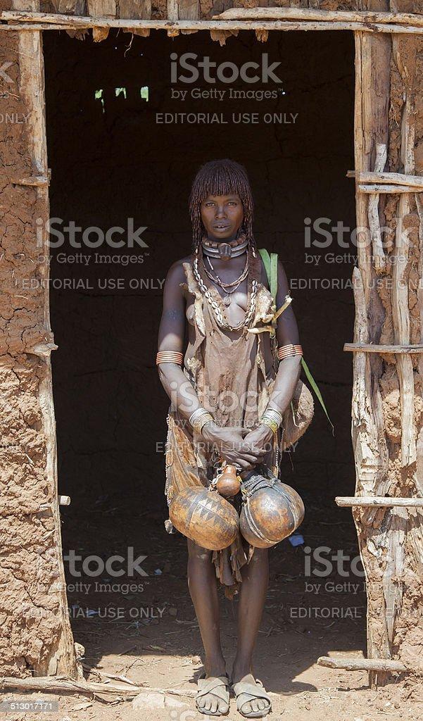 Hamar woman at village market. stock photo