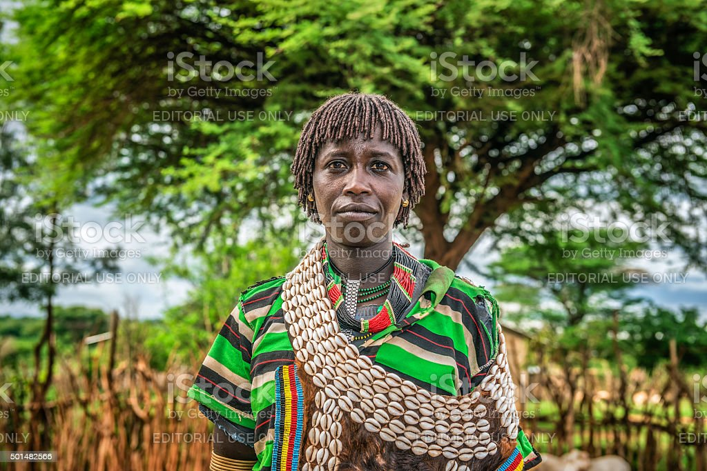 Hamar woman in south Ethiopia stock photo