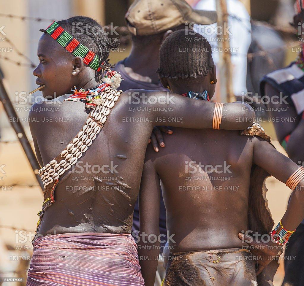 Hamar women at village market. stock photo