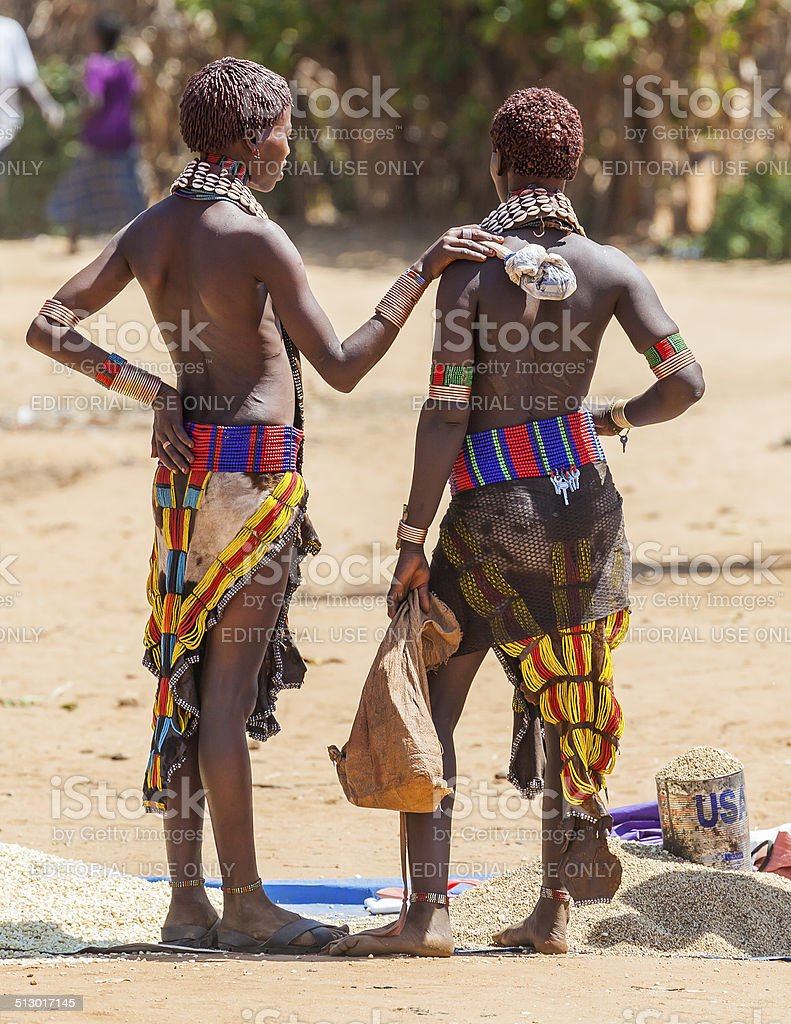 Hamar women sellers at village market. stock photo