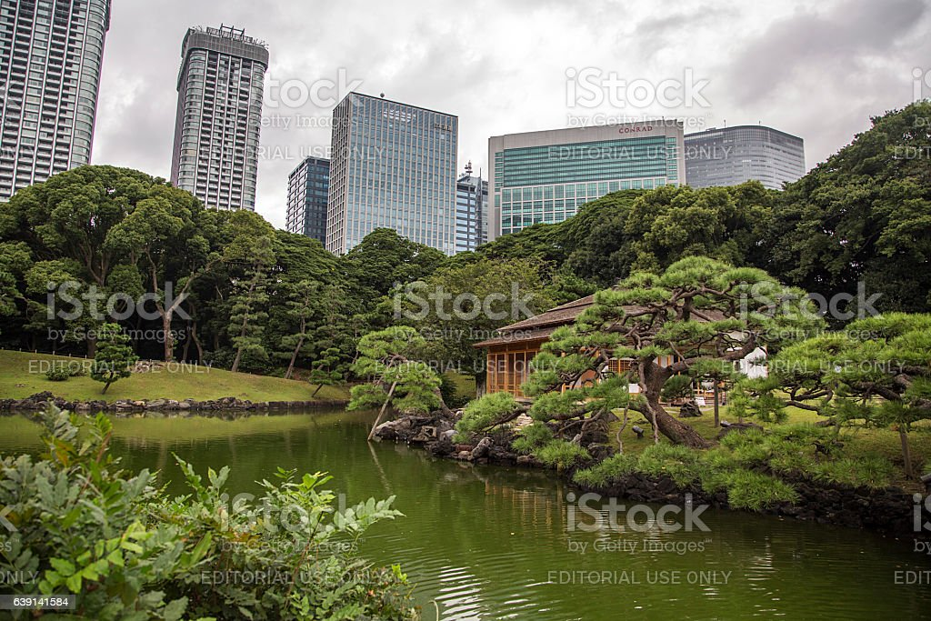 Hamarikyu Gardens in Tokyo, Japan stock photo