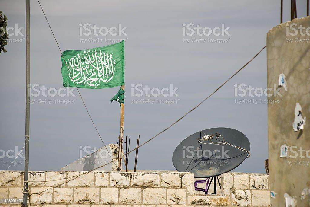 Hamas Flag and Satellite Dish stock photo