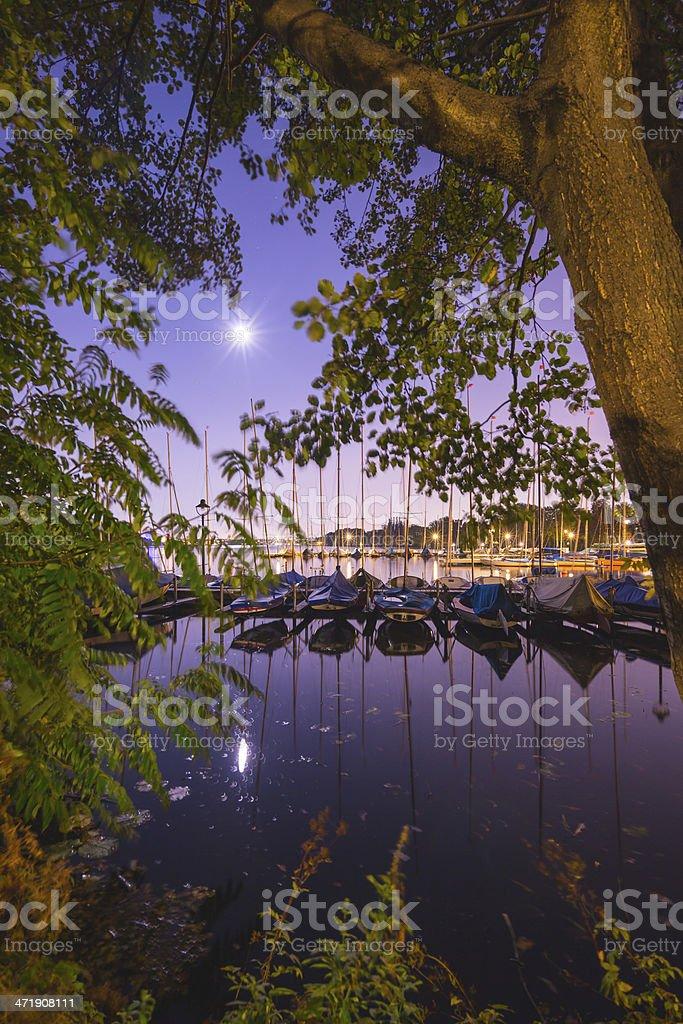Hamburg Alster Lake at Fall during full moon royalty-free stock photo