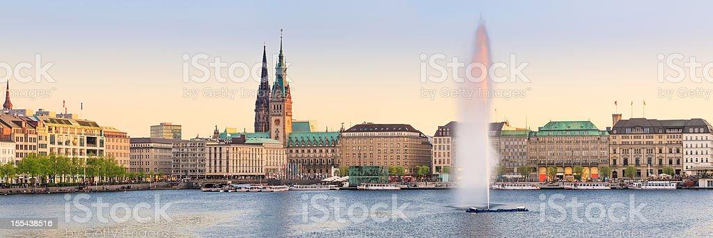 Hamburg Alster Lake panorama stock photo
