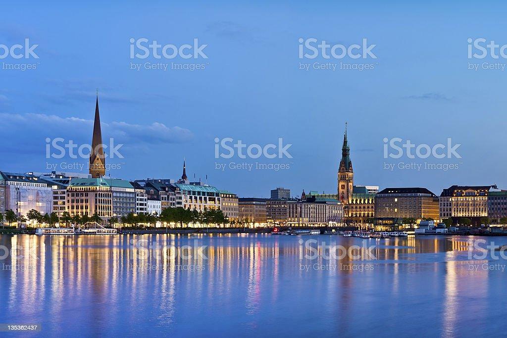Hamburg, Alster Lake, Town hall stock photo