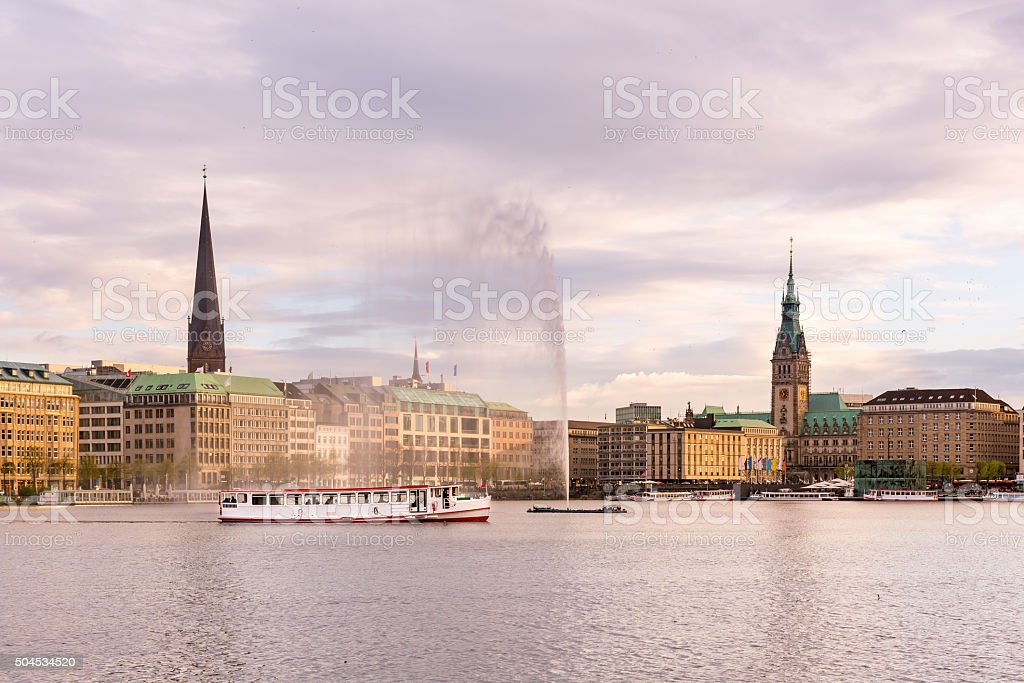 Hamburg Alster Lake, Town hall stock photo