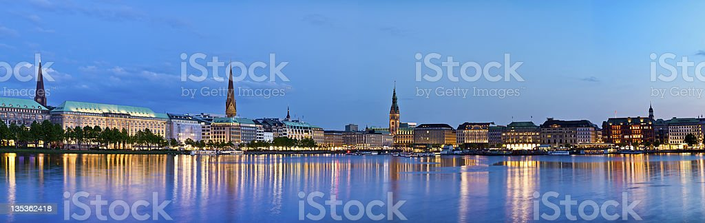 Hamburg Alster Lake with town hall stock photo