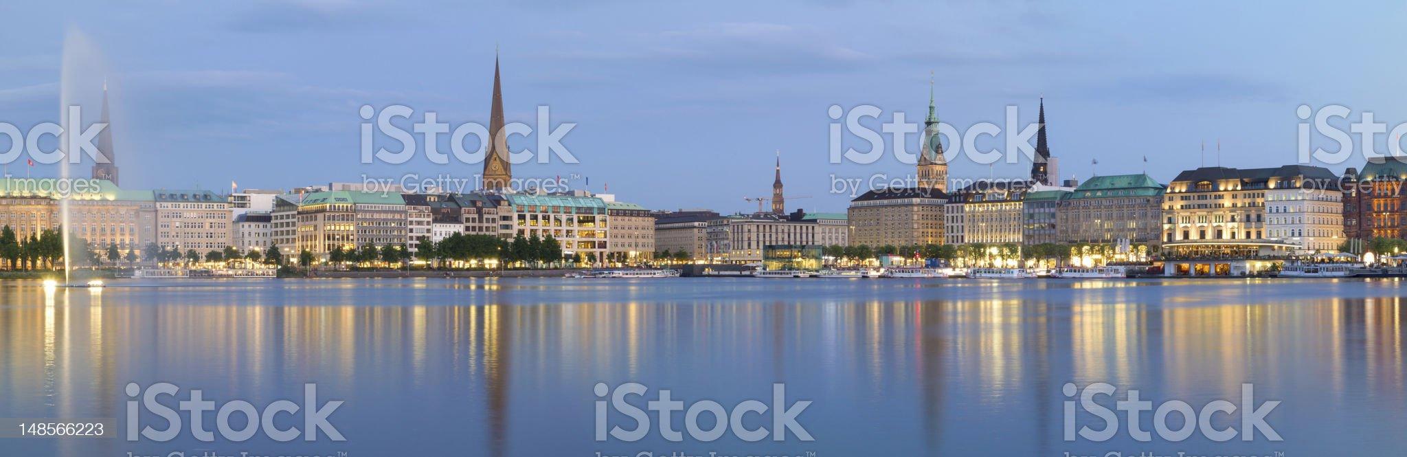 Hamburg Alster Panorama royalty-free stock photo