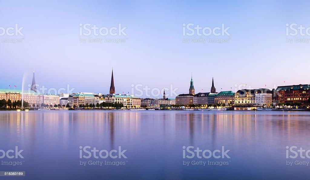Hamburg Alster view Panorama stock photo