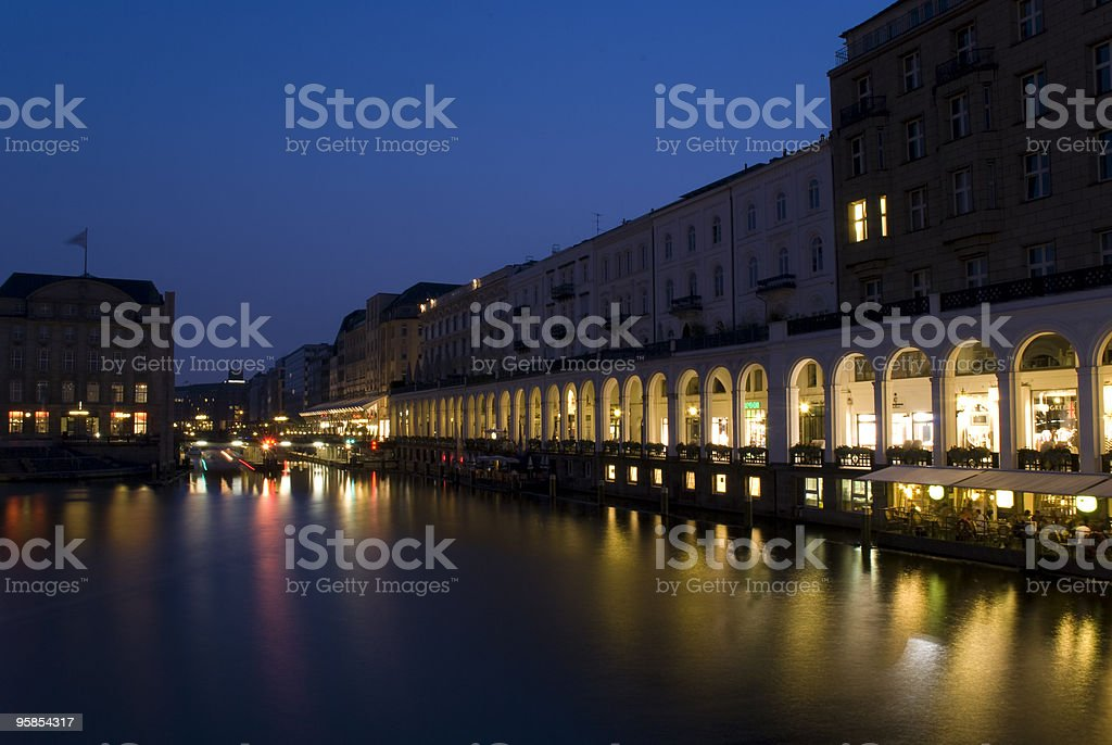 Hamburg at night - Alsterarkaden stock photo