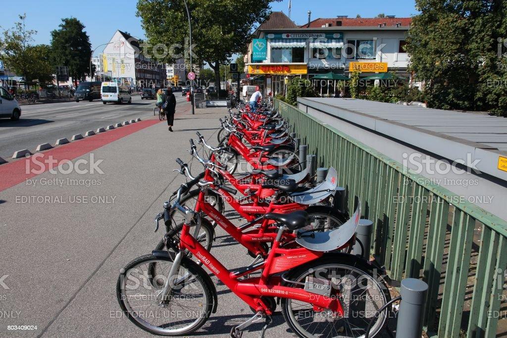 Hamburg bicycles stock photo