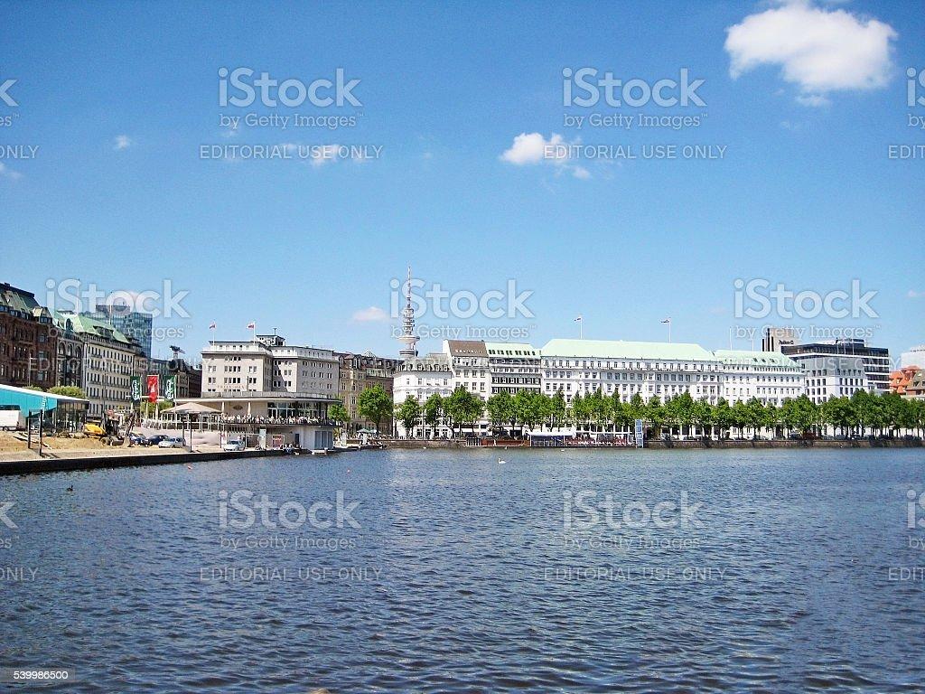 Hamburg, Binnenalster and Neuer Jungfernstieg stock photo