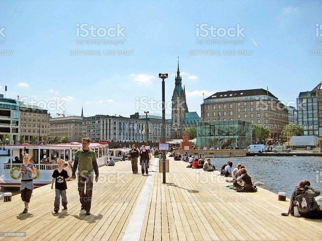 Hamburg, Binnenalster pier stock photo