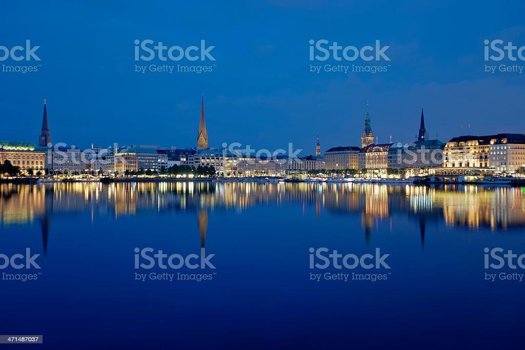 Hamburg by night stock photo
