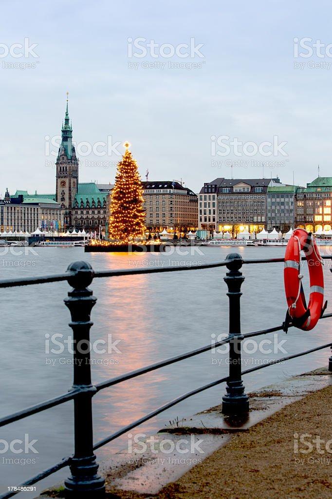 Hamburg Christmas Alster stock photo