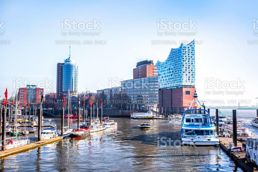 Hamburg city canal and modern buildings stock photo