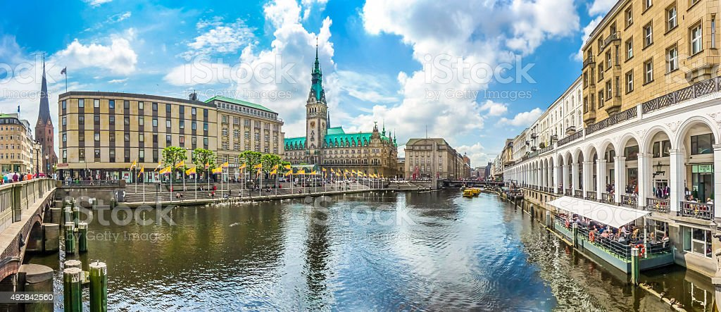Hamburg city center with town hall and Alster river, Germany stock photo