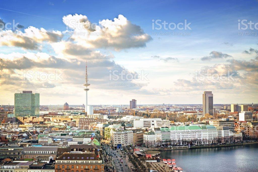 Hamburg cityscape stock photo