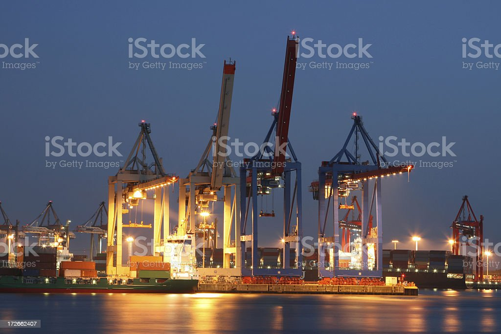 Hamburg Container Harbor Night stock photo