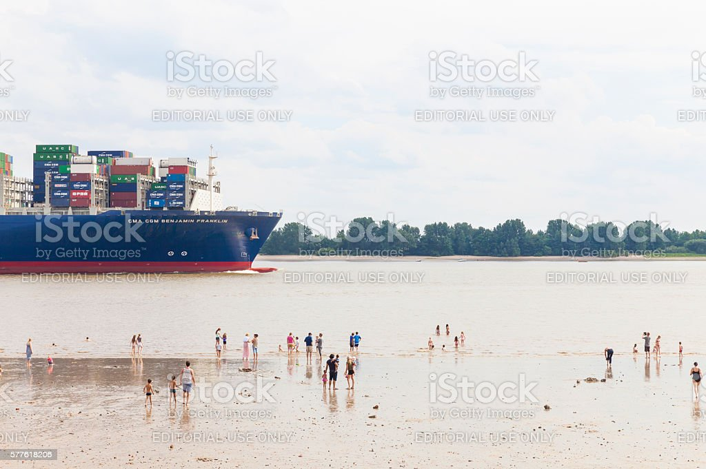 Hamburg, Elbe River with container ship stock photo