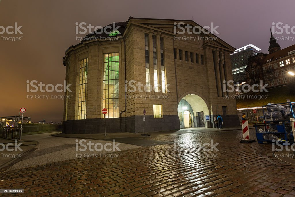 hamburg entrance building alter elbtunnel germany at night stock photo