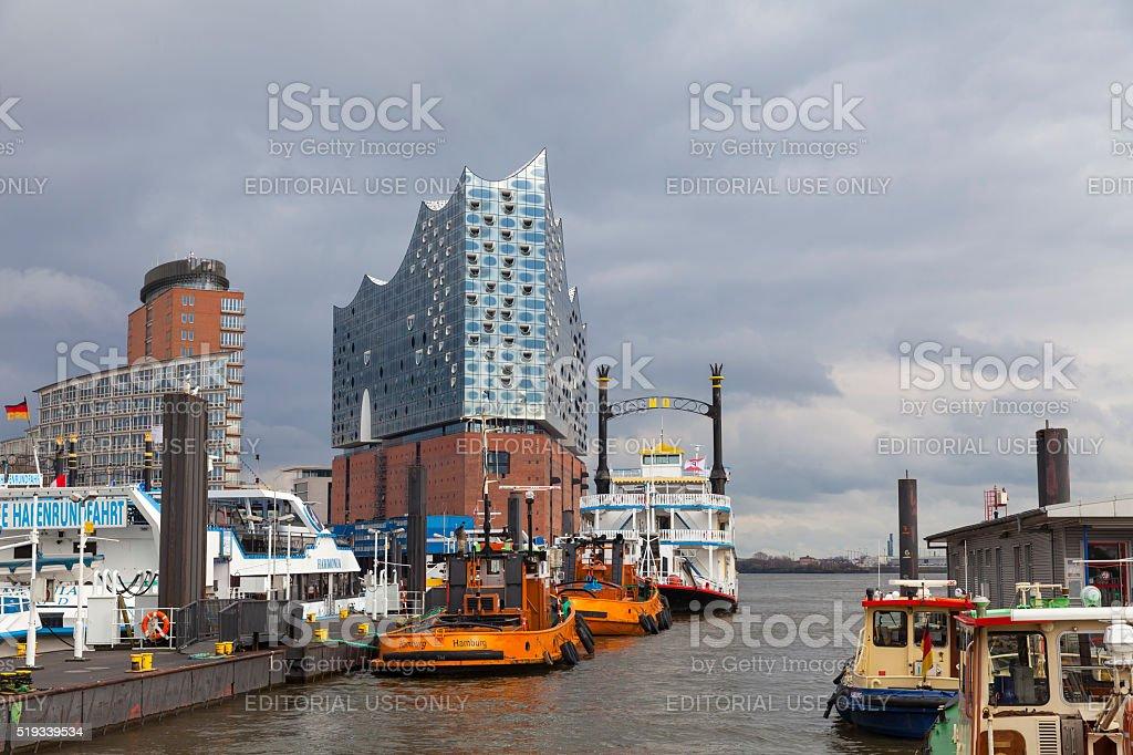 Hamburg, Germany. Harbor and the Elbphilharmonie stock photo