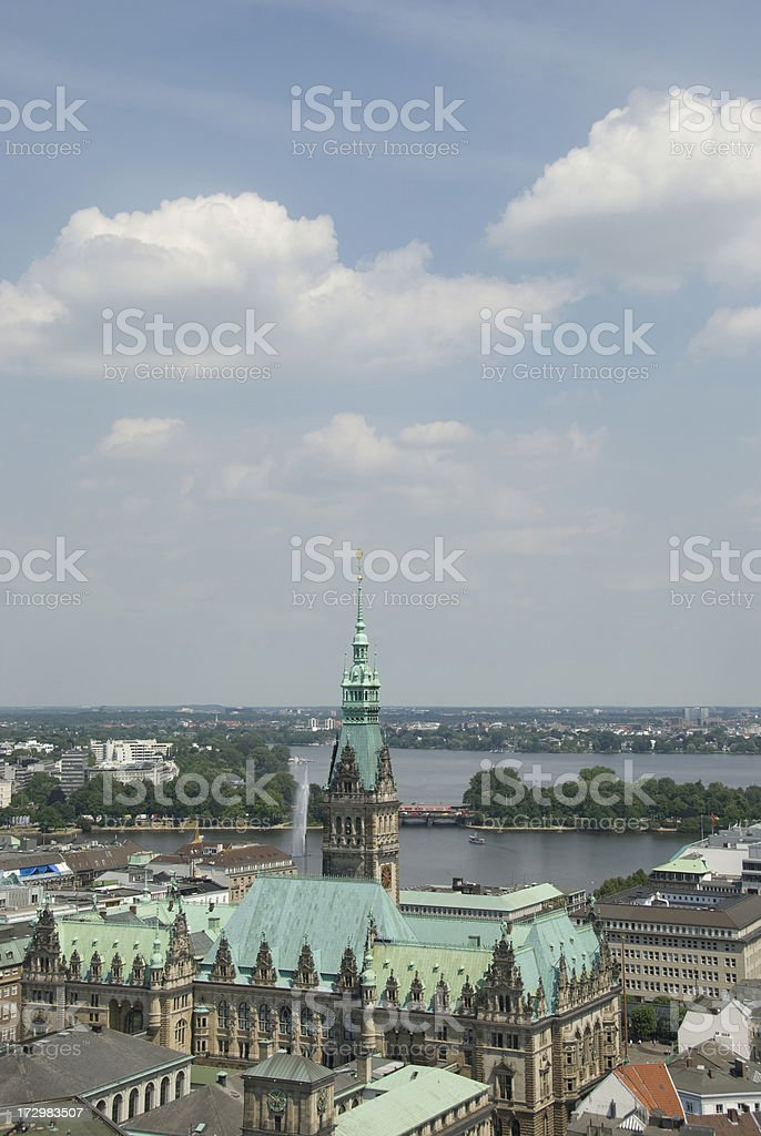 Hamburg, Germany, Rathaus from Michaeliskirche Tower stock photo