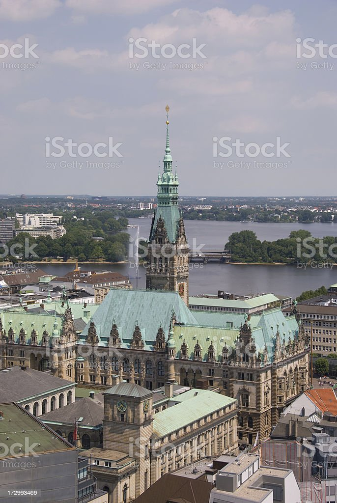 Hamburg, Germany, Rathaus from Michaeliskirche Tower royalty-free stock photo