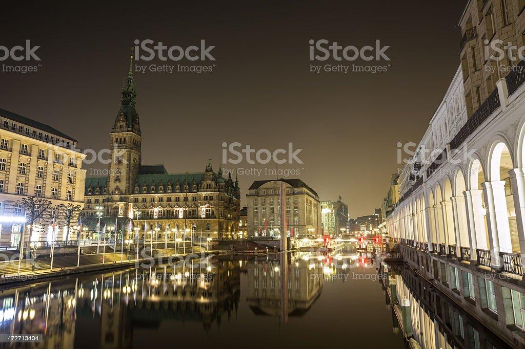 hamburg germany townhall at night stock photo